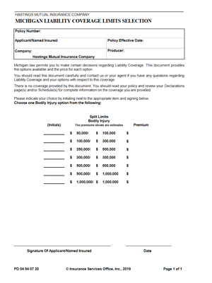 Personal Auto Liability Coverage Limits Selection form draft thumbnail