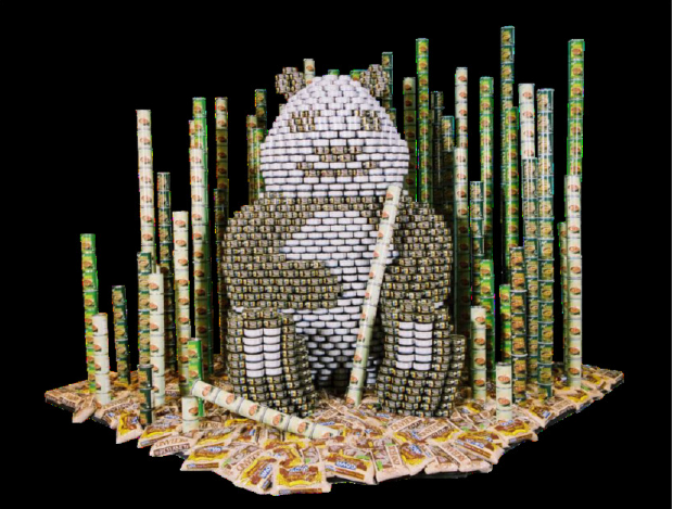 structure built out of tin cans at Boys & Girls Club of Noblesville CanStruction