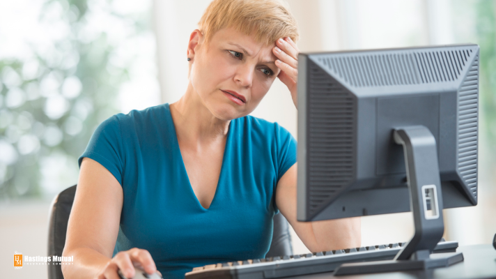 confused woman at computer: hopefully it isn't this difficult.