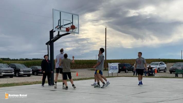 playing basketball at Drake Goetz Memorial Park