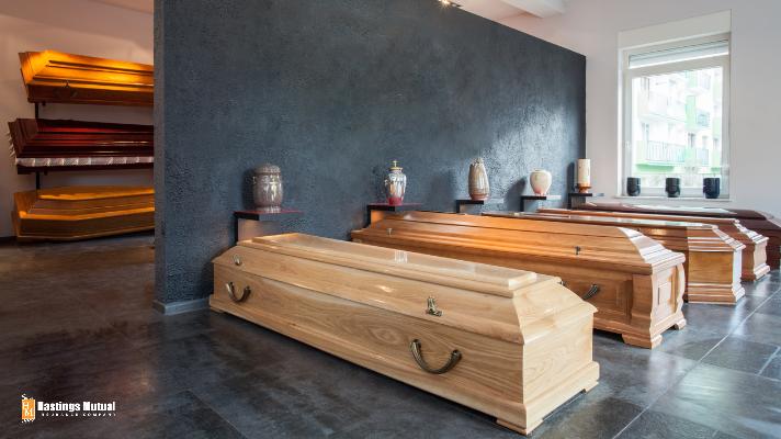 funeral home casket display