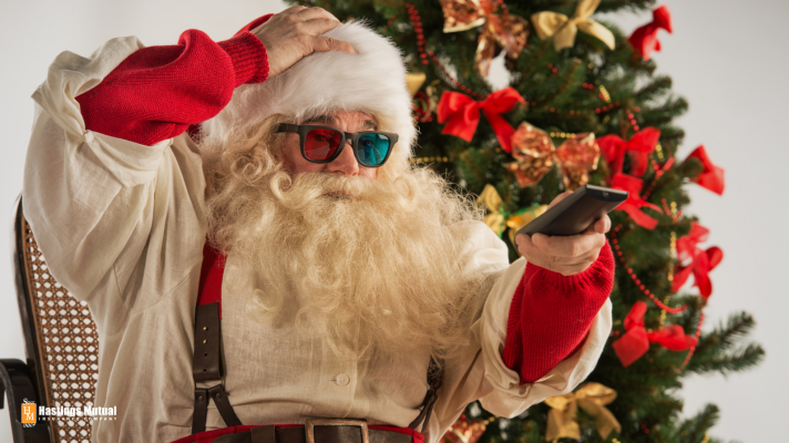Santa at home watching movie