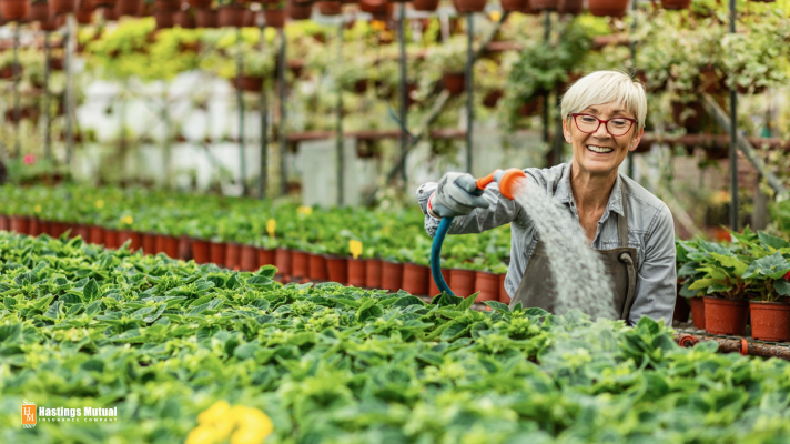 Female greenhouse employee watering plants